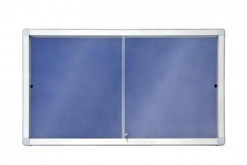 Gablota wewnętrzna 12xA4/138x68 model 1 z przesuwnymi drzwiami powierzchnia tekstylna